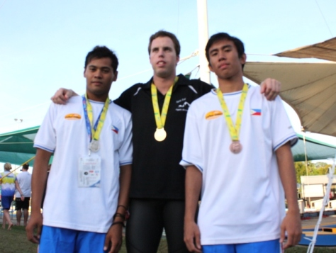 Haroon Cali and Allan Jovero flanks gold medalist Scott Burck of Queensland
