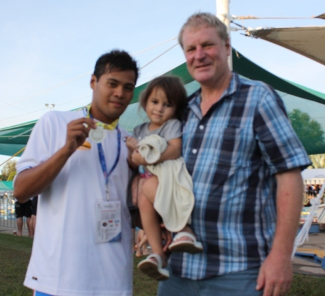 Haroon Cali with foster parent Gilbert Hanson and Sophie