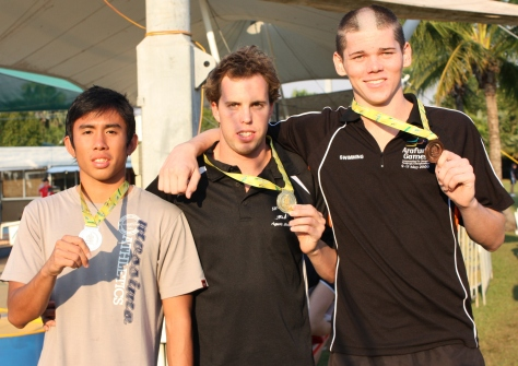 Top 3. Allan Jovero with gold medalist Scott Burcke of Queensland and silver medalist Michael Barker of NT.