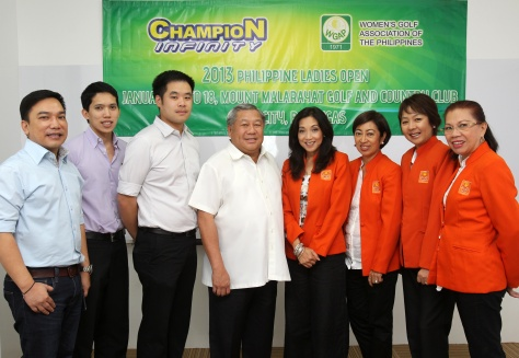 Simeon Tiu (fourth from left), president of Peerless Products Manufacturing Corp., makers of Champion Detergent Bar and Powder, and WGAP (Women's Golf Association of the Phils.) vice president Lorna Tabuena (fourth from right) pose after signing the contract making Champion Infinity the title sponsor of the 2013 Philippine Ladies Open slated Jan. 16-18 at the Malarayat Golf and Country Club in Lipa City, Batangas. Others in photo are (from left) PPMC corporate marketing director Pen Roque, marketing manager Carlos Bacani, VP for sales and marketing Jasper Tiu, and WGAP's Minerva Castillo, handicap chairperson, WGAP treasurer Jee Cabochan and Marie Guerrero, tournament chairperson.