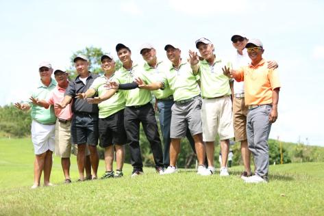 Canlubang celebrates a three-peat win of the PAL Seniors Interclub at Alta Vista in Cebu.