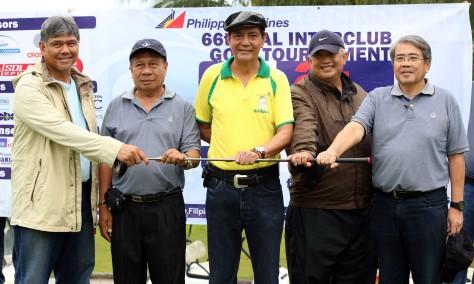Unity Hand from L-R are Evans Tumaliwan Vice Pres. Club Filipino De Cebu,Atty Domeng Duerme, Cebu City Mayor Michael Rama,Peter Aznar VP Alta Vista, PAL VP Bong Cruz during the opening of the PAL Interclub in Cebu.