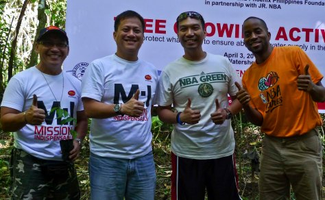 From left, Phoenix Petroleum Corporate Affairs Manager Ben Sur, Phoenix Petroleum VP for External Affairs and Business Development Atty. Raymond Zorrilla, NBA Asia Country Manager for the Philippines Carlo Singson and Jr. NBA coach Sefu Bernard lead the Tree Growing Activity held last April 3, 2013 at the Malagos Watershed, Calinan Davao City.