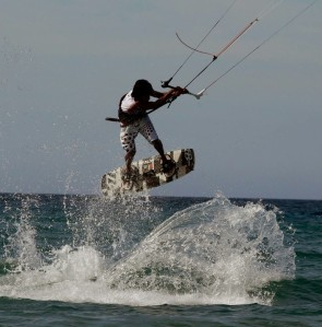 Dong Manuel performs his routine en route to winning the Freestyle category of the second leg of the first ICTSI Philippine Kiteboarding Tour in Ilocos Sur.