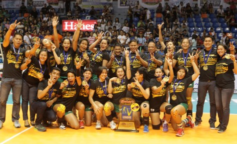 The Army Lady Troopers pose after winning the Shakey's V-League Season 11 Open Conference crown with a sweep of last year's champion Cagayan Valley.(pr photo)