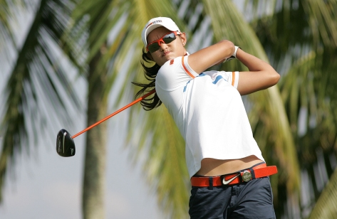 Cyna Rodriguez off the tee on No. 2.(pr)