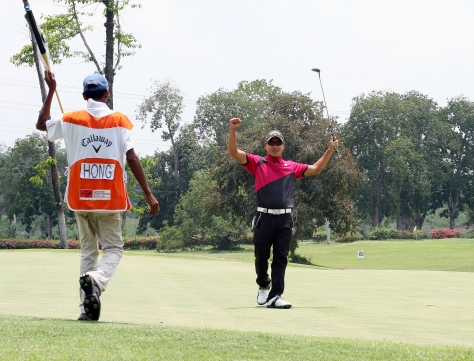 Charles Hong raises his arms in triumph after closing out with a routine par for a two-stroke win in the ICTSI Luisita Championship.(pr)