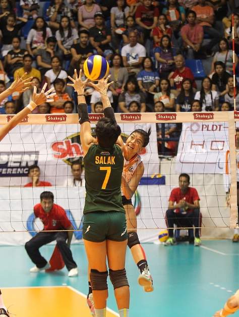 PLDT's Alyssa Valdez unleashes a vicious kills against Army's single coverage by setter Tina Salak against the league's leading spiker as the Ultra Fast Hitters got back at the Lady Troopers in Game Two to force a sudden death for the Shakey's V-League Season 12 Open Conference crown at The Arena in San Juan yesterday.(pr)