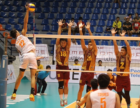 PLDT's Howard Mojica (12) soars for a kill against Cagayan Valley's Brendon Santos (18), Rex Intal (16) and Warren Pirante (2) during the preview of the Spikers' Turf finals at The Arena yesterday.(pr)